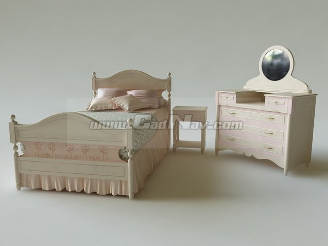 Girl Bed And Dressing Table 3d Model 3ds Max Files Free