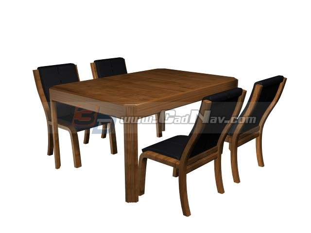 Restaurant table and chairs 3d model - CadNav