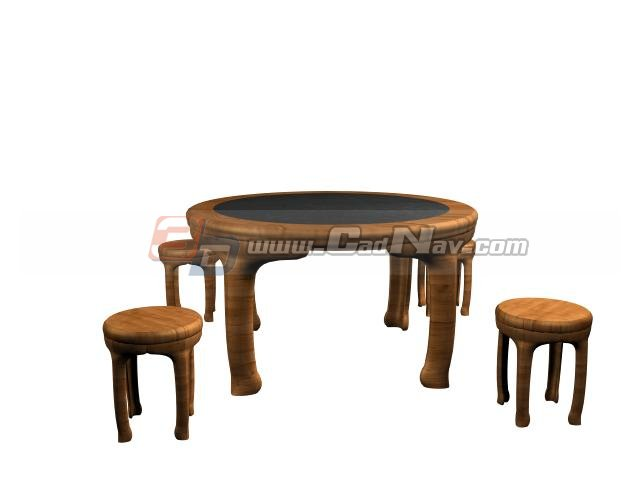 Wooden dining room table and chairs 3d model 3ds max files for New model wooden dining table