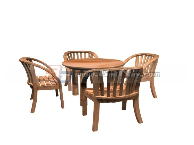 Garden table and chairs 3d model 3ds max files free for Outdoor furniture 3d max