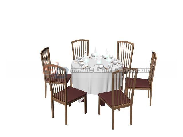 Superior Restaurant Dining Table And Chair Set 3D Model