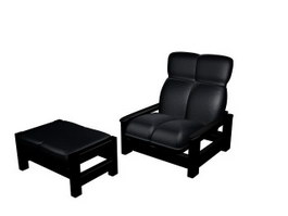 Leather Chair and Sofa footrest 3d model