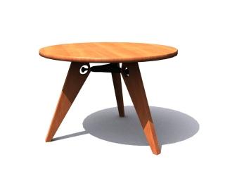 Vitra Guéridon wooden table 3d model