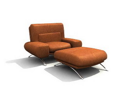 Musterring Lounge Chair & Ottoman 3d model