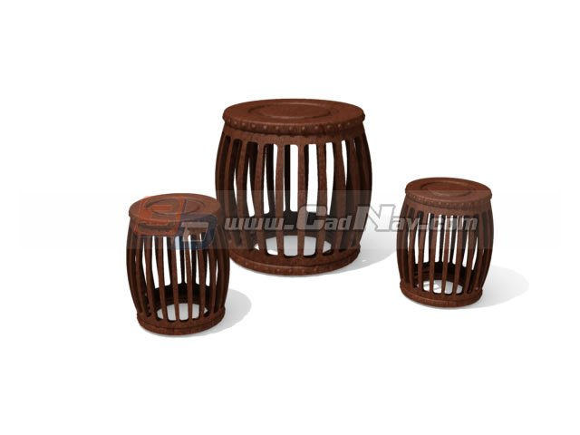 Antique Furniture Wooden Drum table and stools 3d model  : 1 130615063530524 from www.cadnav.com size 640 x 480 jpeg 24kB