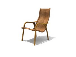 Rattan lounging chair 3d model