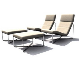 Rattan sun lounge chair and footrest 3d model