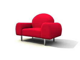Red Alcove Sofa 3d model