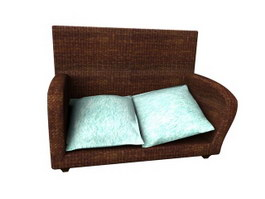 Rattan Sofa and Cushion 3d preview