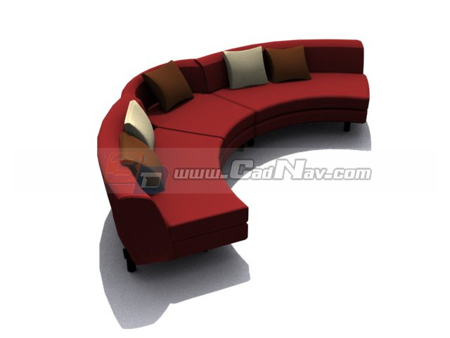Arc Shaped Sofa 3d Model 3dmax 3ds Files Free Download