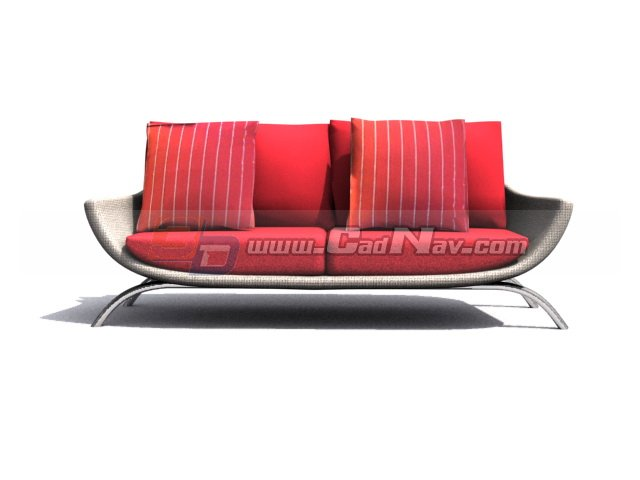 double divan cushion couch 3d model 3dmax