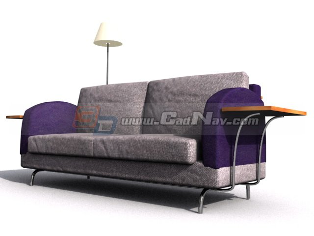 cushion couch and floor lamp 3d model 3dmax