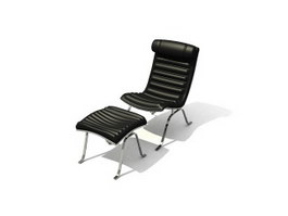 PU Lounge Chair and Footstool 3d model