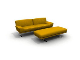 Home loveseat and footstool 3d model