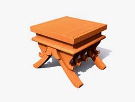 Antique Wooden Tea Table 3d model