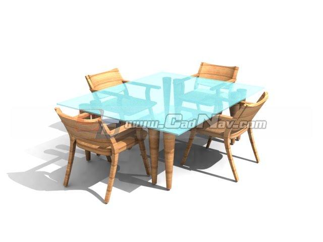Wooden Dining Room Sets Glass Top 3d model 3DMax3DS files  : 1 1306200U100N0 from www.cadnav.com size 640 x 480 jpeg 26kB