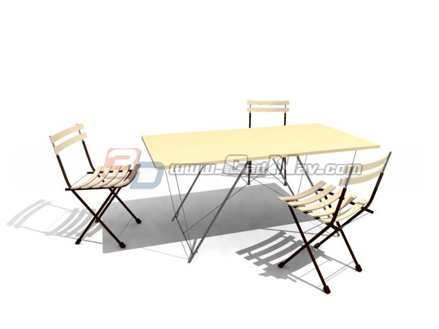 outdoor garden dining set 3d model 3dmax 3ds files free download modeling 2551 on cadnav. Black Bedroom Furniture Sets. Home Design Ideas