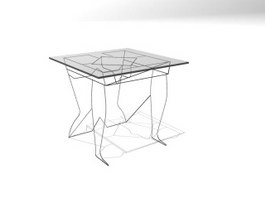 Glass Top Iron Coffee Table 3d model