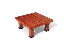 Wooden Sofa Side Table 3d model