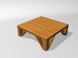 Carved wood tea table 3d model