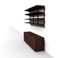 Wood Cabinet and hanging bookcase 3d model