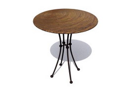 Round Wooden Coffee Table 3d model