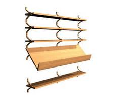 Wooden Magazine Rack 3d model