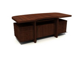 Solid wood executive table 3d model