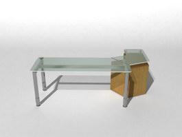 Glass top steel frame office desk 3d model