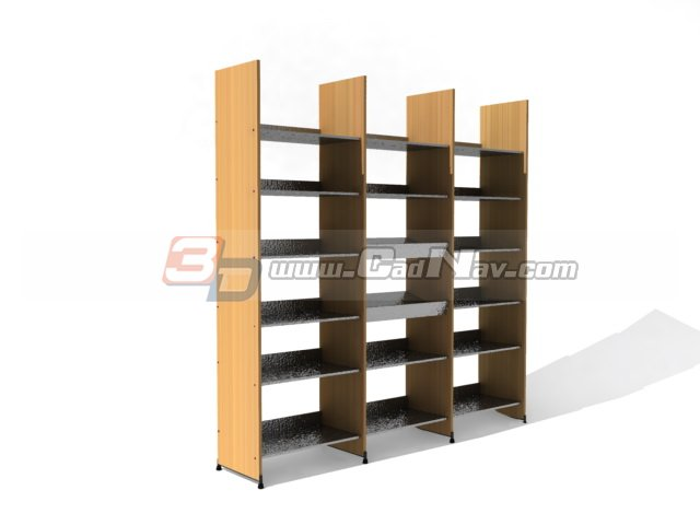 Wooden storage library book shelf 3d model 3DMax,3Ds files free