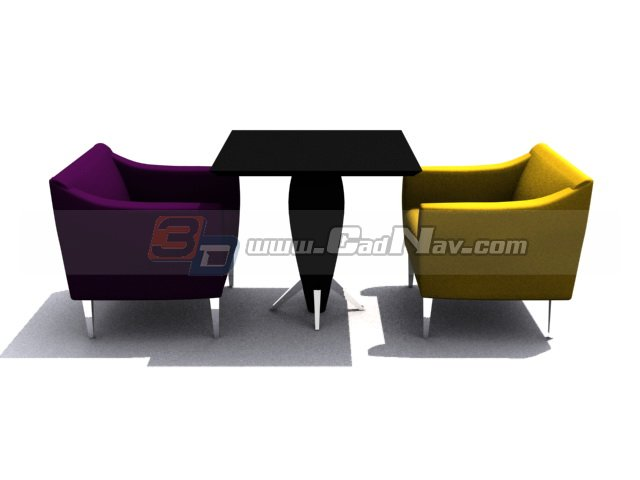 Coffee Shop Armchair And Table 3d Model