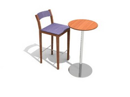 Restaurant tall stool and table 3d model