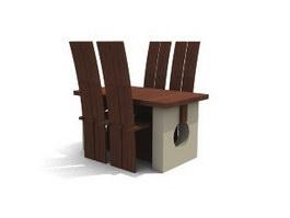Wooden Restaurant Sets 3d model