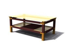Glass Top wood tea table 3d model