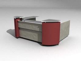 Service counter desk 3d model