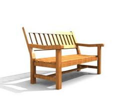 Public Patio Bench 3d model
