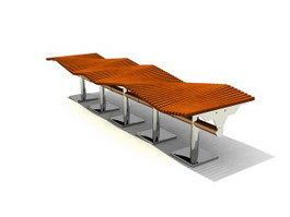 Shopping Center Patio Bench 3d model