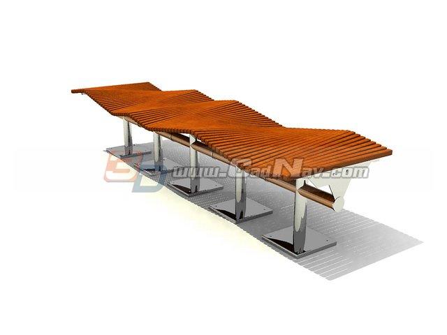 Brilliant Shopping Center Patio Bench 3D Model Cadnav Short Links Chair Design For Home Short Linksinfo
