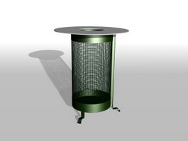 Metal trash basket 3d model