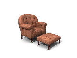 Classic Sofa with Footstool 3d model