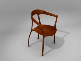 Solid wooden chair 3d model