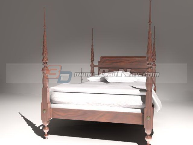 Antique Bed Wood Canopy Bed 3d model 3DMax,3Ds files free