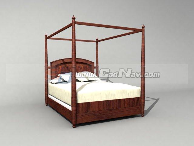 wooden canopy bed antique furniture 3d model 3dmax 3ds
