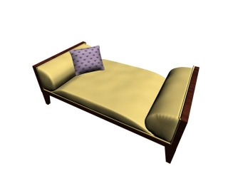 Wooden day bed 3d model
