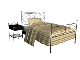Antique Furniture Metal Bed and Nightstand 3d model