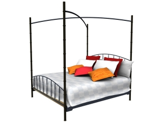 Antique Furniture Iron Canopy bed 3d model