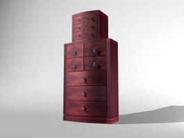 Antique Furniture storage lockers 3d model
