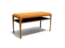 School Furniture wood teacher desk 3d model