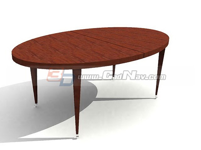 Oval wooden dining table 3d model 3dmax 3ds files free for Dining table models