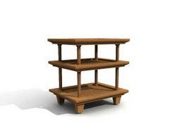 Wooden Storage Rack 3d model